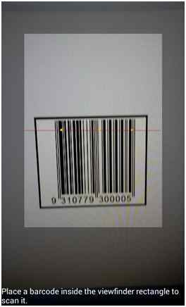 barcode inside the viewfinder