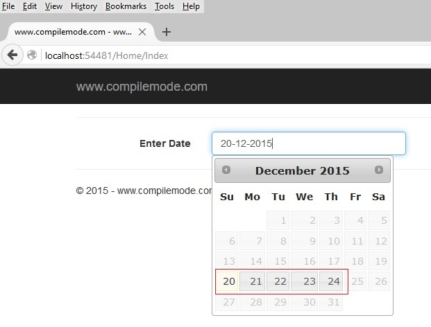 Disable Past And Future Dates of Calendar In ASP NET MVC