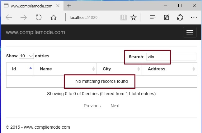 Paging sorting and searching in asp net mvc using jquery for Table thead tbody