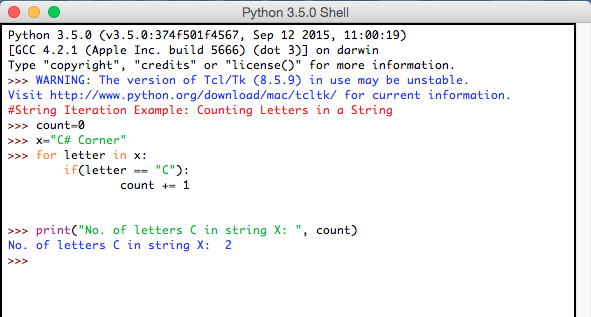 Python Example Using String Letters