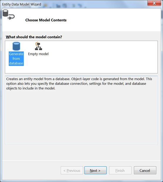 Create a entity model from Database