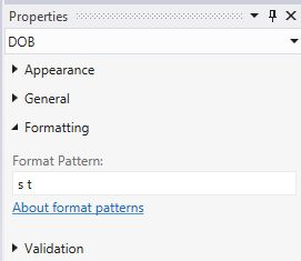 s and t Format Pattern property