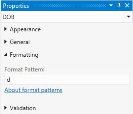 Short Date Format Pattern Properties