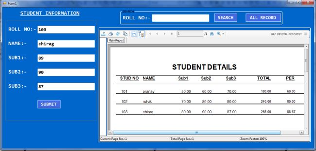 Student Result Application in Windows C# With Crystal Report