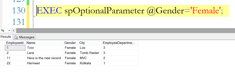 Optional output parameter sql server 2017