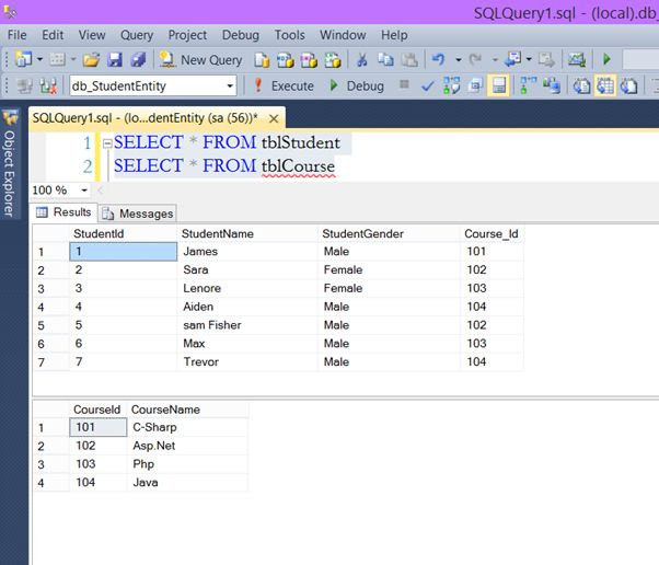 Working with multiple tables in mvc using entity framework for Table design in mvc 4