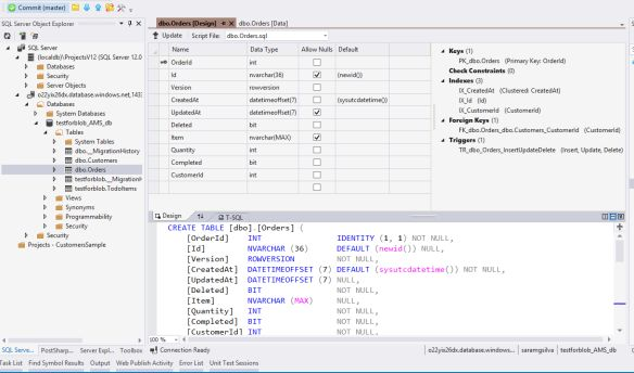 Datatable design view for azure sql database for Table design view definition