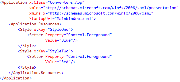 create styles in App.xaml