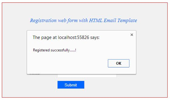 Sample Registration Page And Email Confirmation In Asp.Net