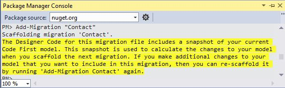 Add Migration in Package Manager Console