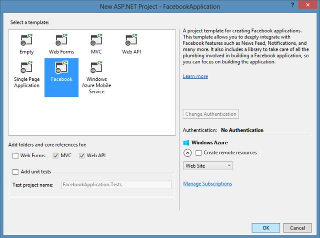 Introducing various project templates in visual studio 2013 rc for Facebook templates for projects