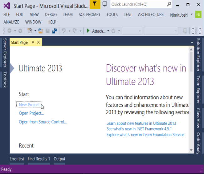 Start Page of VS 2013