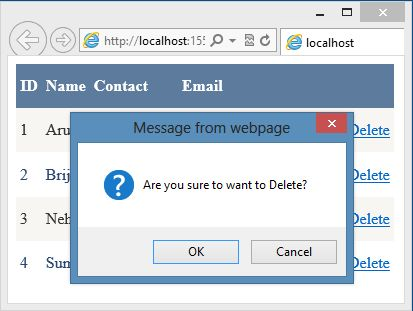 Delete Confirmation Dialog in Data Grid