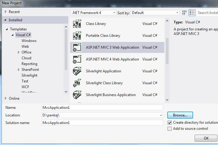MVC Application in Visual Studio 2012