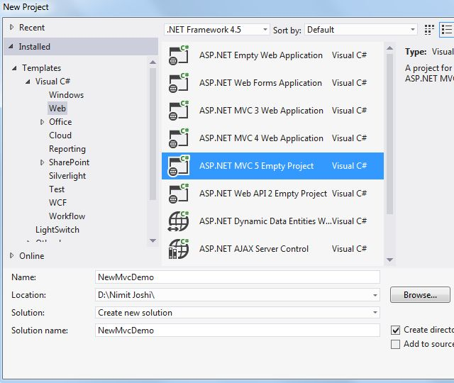 how to create web page in visual studio 2012