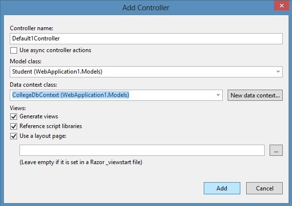 Add Controller Scaffolding in MVC