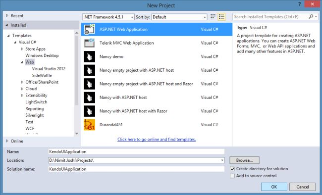 Creating Web Application in VS 2013