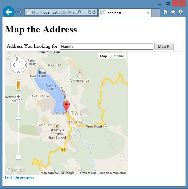 Google Map Request: View Address Using Maps In ASP.Net Web Pages 2