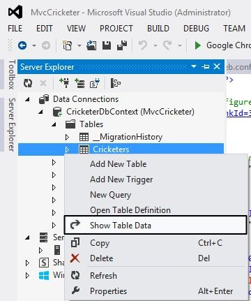 View Table Data from Server Explorer