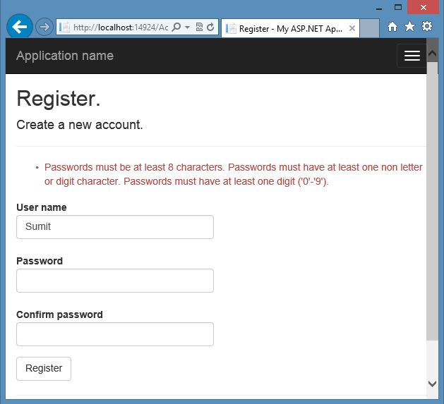Password Validation in Mvc using Identity