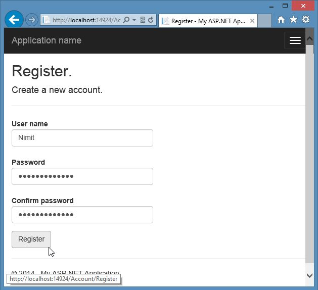 Registering Local User in Mvc