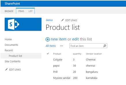 create a product list in Sharepoint