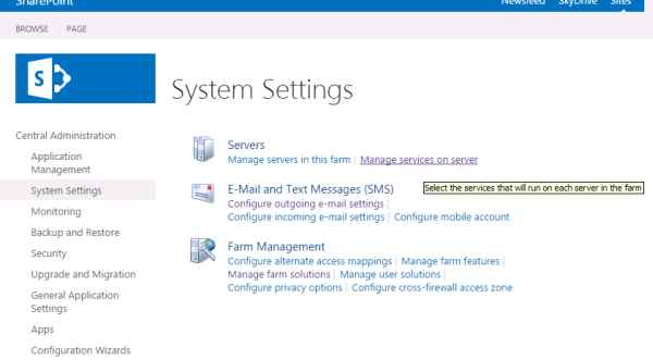 Manage services on the server