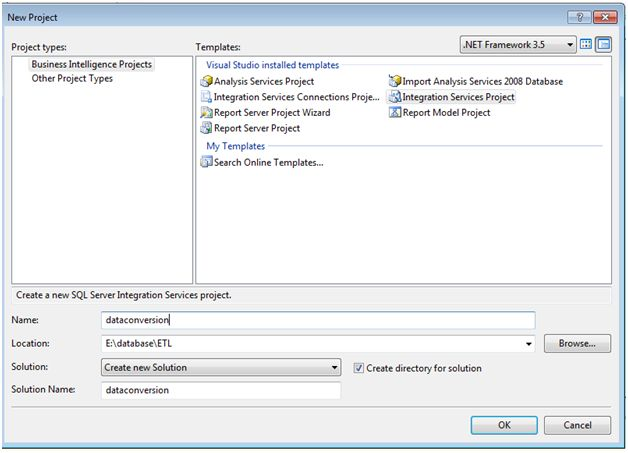Create a SSIS project
