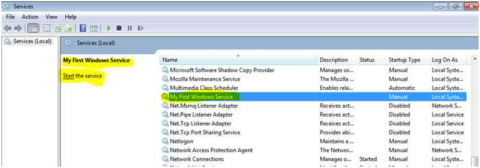 how to run a windows service in c#