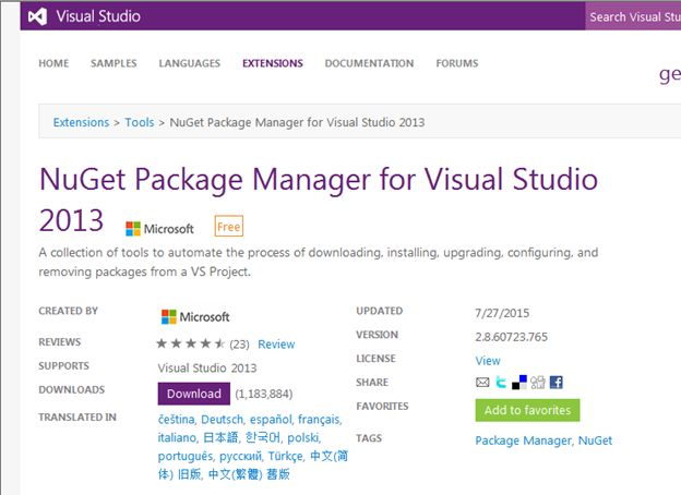 download NuGet Package Manager