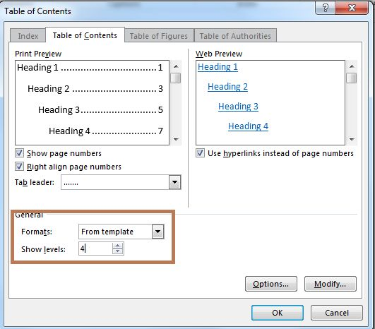 how to show the table of contents in word