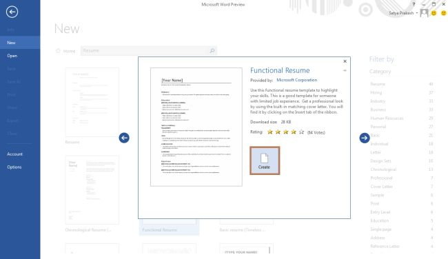 create button in word2013jpg step 5 a functional resume template opens in word 2013 - Microsoft Word Resume Template 2013