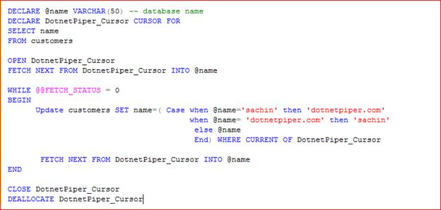 Switch column value of a table using cursor in sql server 2008 for Sql table design query
