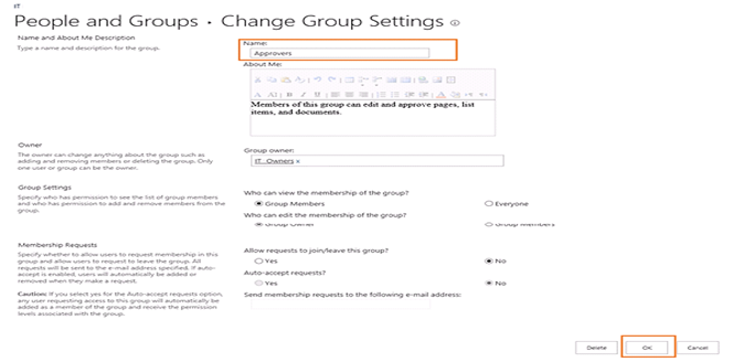 how to delete a sharepoint group
