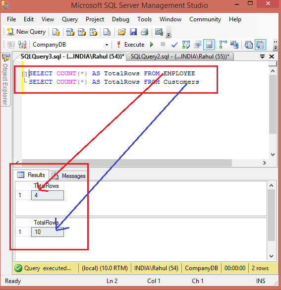 Count all tables rows in sql server for Sql table design query