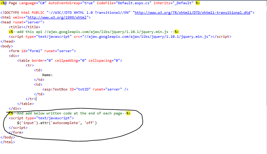 Off Automatic Autocomplete Functionality of Input Page in ASP.NET