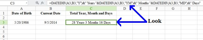 Calculate Age in MS Excel