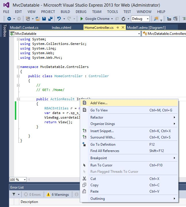 Show database values in table using mvc razor for Table th thead