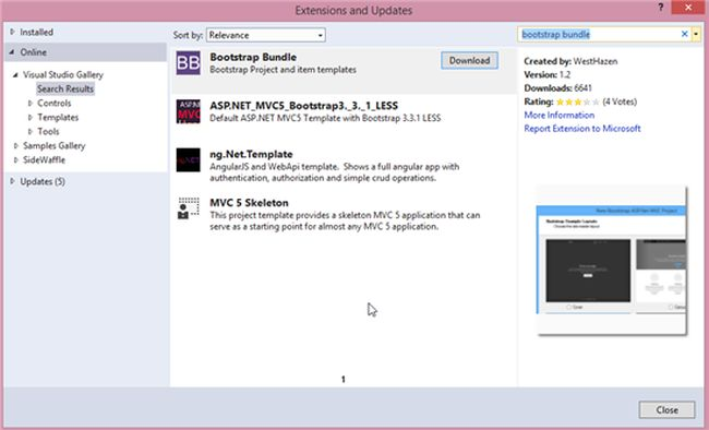 asp net mvc 4 bootstrap layout template - visual studio tools for bootstrap