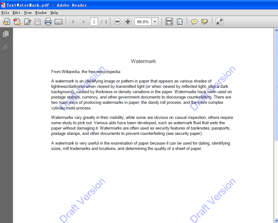 How to add watermark on pdf files for Pdf document watermark