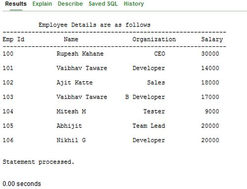 table of employee detail
