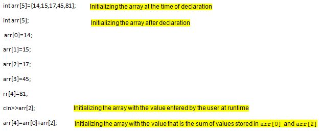 different ways to initialize an array