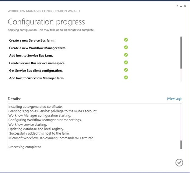 Configuration progress window