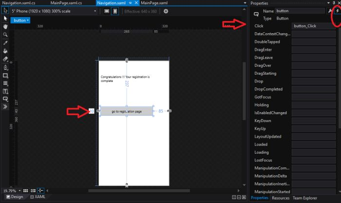 Create sign up page in blend using toolbar and navigation