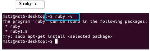 Ruby is installed or its installed version