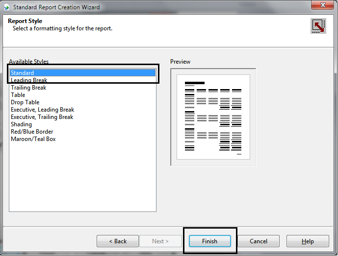 Choose Report Display Format