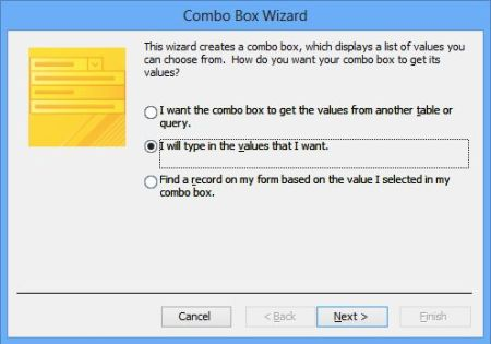 Image result for combo box wizard in ms access