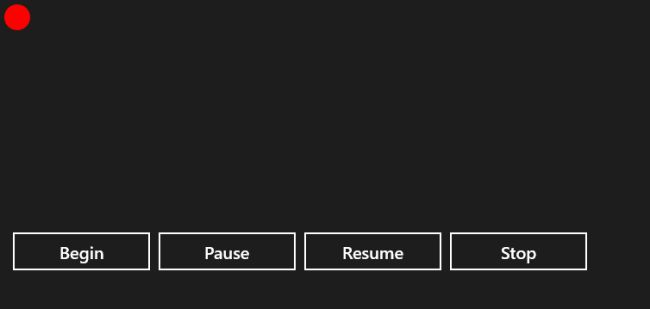 move stop pause and resume an object in windows store app