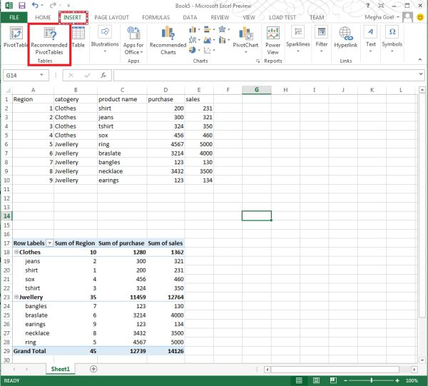 how to make a corner table pivot excel