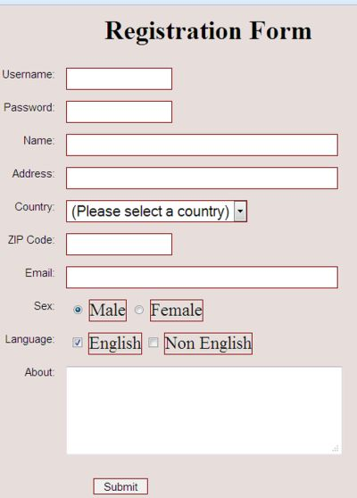 Validate Registration Form In Php